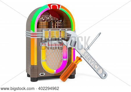 Service And Repair Of Jukebox, 3d Rendering Isolated On White Background