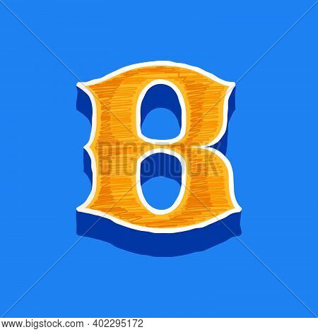 B Letter Embroidered Logo In Classic Collegiate Or Sports Style. Retro Font Perfect To Use In Any Un