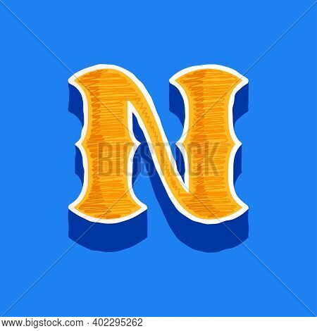N Letter Embroidered Logo In Classic Collegiate Or Sports Style. Retro Font Perfect To Use In Any Un