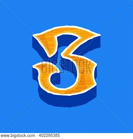 Number Three Embroidered Logo In Classic Collegiate Or Sports Style. Retro Font Perfect To Use In An