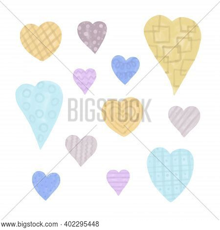 Hearts Set In Trendy Pastel Scandinavian Colors, Simple Hand Drawn Style Digital Watercolor Illustra