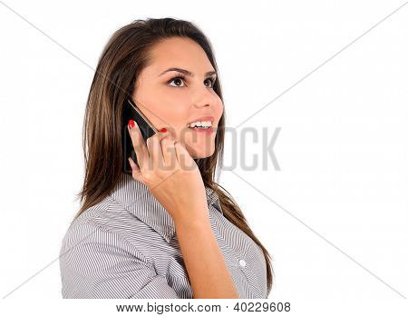 Isolated young business woman with phone