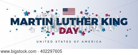 Martin Luther King Day Vector Background - Martin Luther King Day Typography, The Usa Flag, United S