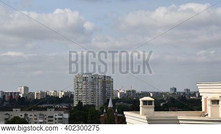 Stratocumulus Clouds Over City Buildings In Residential Neighborhood Of Odessa, Ukraine, Eastern Eur