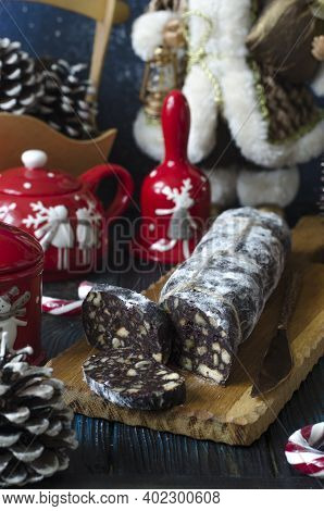 Chocolate Sausage With Nuts And Dried Cranberries
