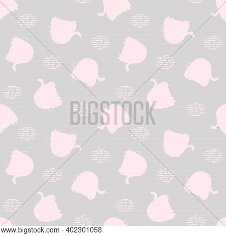 Seamless Pattern With Cute Pink Elephants On A Gray Background. Vector Baby Background Great For Fab