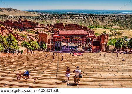 Denver, Colorado - August 19, 2012: Red Rocks Amphitheatre Is An Open-air Theater Built Into Rock Te