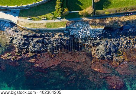Aerial View Of The Rocky Coast And Cliffwalk Of Newport, Rhode Island.