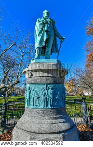 Monument To Commodore Matthew C Perry In Touro Park In Newport, Rhode Island.