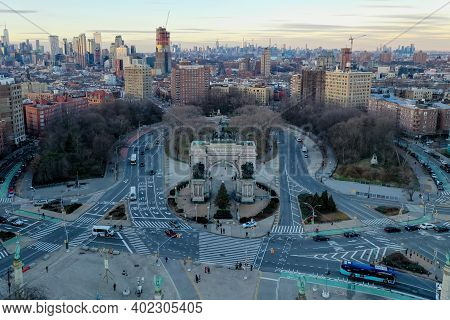 Aerial View Of The Triumphal Arch At The Grand Army Plaza In Brooklyn, New York City