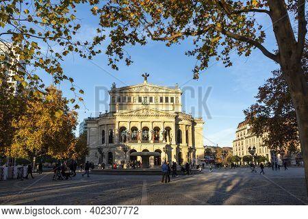 "Frankfurt, Germany - November 21, 2020: Facade Of Opera House ""alte Oper Frankfurt"