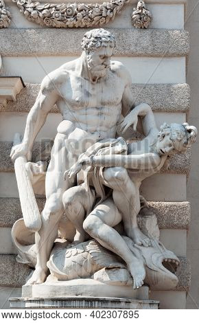 Vienna, Austria - July 31, 2019: Sculpture Of Hercules And The Girdle Of Hippolyta, St. Michael's Wi