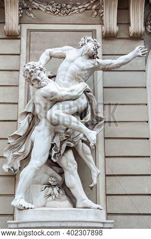 Vienna, Austria - July 31, 2019: Sculpture Of Hercules Wrestling Antaeus, St. Michael's Wing Of Hofb