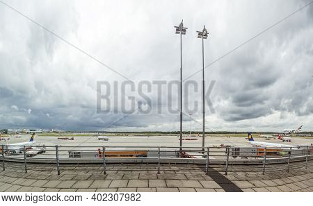 Hamburg, Germany - June 18, 2015:  View To Apron At The Gate In Terminal 2 In Hamburg, Germany. Term