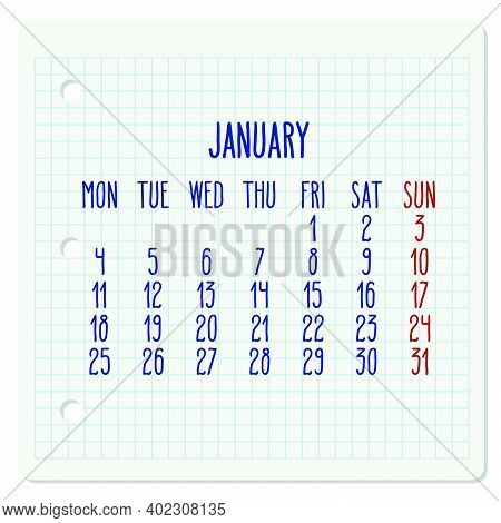 January Year 2021 Vector Monthly Calendar On A Chequered Notebook Page. Week Starting From Monday. H