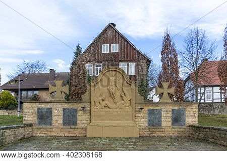Bad Driburg, Germany - December 21, 2020: Monument For The Fallen Soldiers In Ww1 In Bad Driburg, Ge