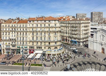 Marseille, France - March 29, 2015: View To The Historic Promenade At The Old Port Of Marseilles.