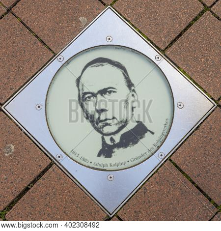 Bonn Germany, November 18, 2020: Honor To Adolph Kolping At The Walk Of Fame In Bonn In The Bonngass