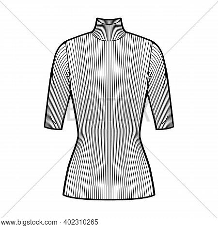 Turtleneck Ribbed-knit Sweater Technical Fashion Illustration With Elbow Sleeves, Close-fitting Shap