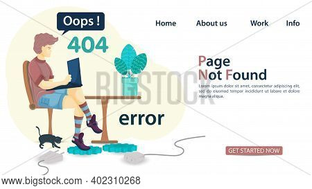 Banner, Oops, 404 Error, Page Not Found, Man Man Sitting On Chair With Laptop, For Websites And Mobi