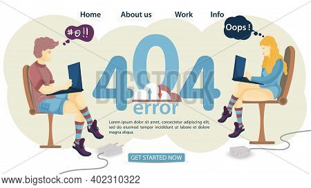 Banner, Oops 404 Error, Page Not Found, Man And Woman Sitting In Chairs With Laptop Internet Not Wor