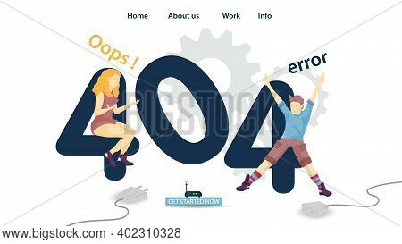 Banner, Oops 404 Error, Page Not Found, Man And Woman Sitting On Numbers, For Website And Mobile App