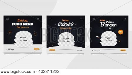 Set Of Burger Social Media Post Templates With A Black And White Background, Suitable For Food And B