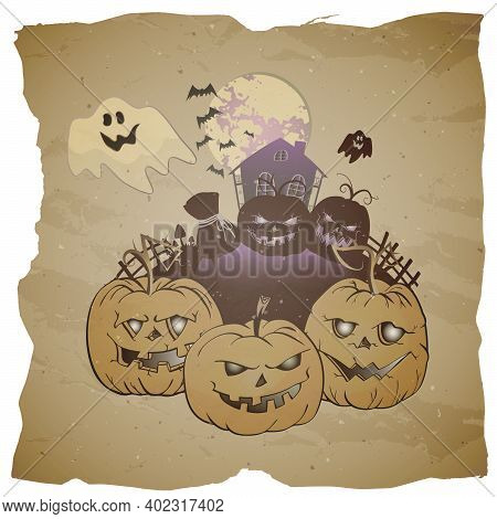 Vector Halloween Illustration With Grinning Pumpkins, Abandoned House And Ghosts On Grunge Backgroun