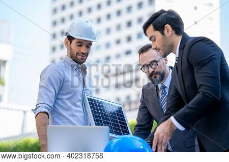 Two Businessmen Discuss About Renewable Energy Solar Panels On Site New Project Power Solution Busin