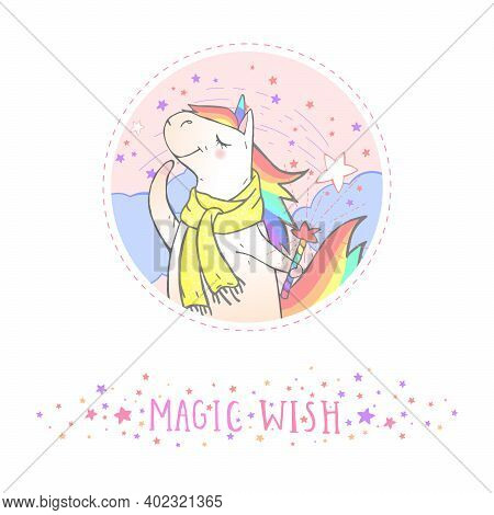 Vector Sticker Or Icon With Hand Drawn Cute Unicorn In Scarf,magic Wand And Text - Magic Wish On Wit