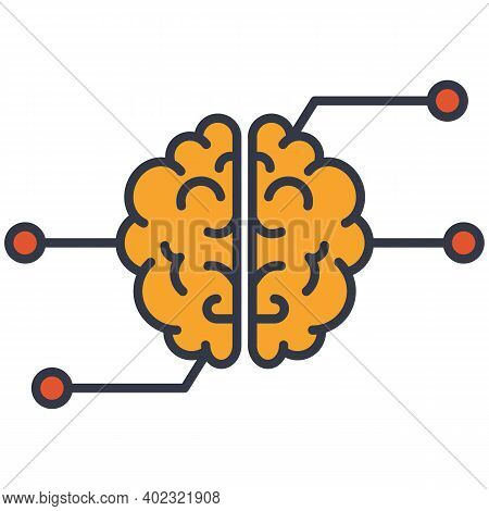 Artificial Intelligence Super Brain Vector Icon. Human Brain Connected To Network.