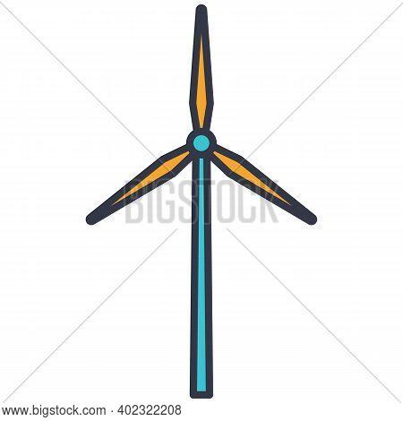 Windmill Turbine Generated Wind Energy Vector Icon