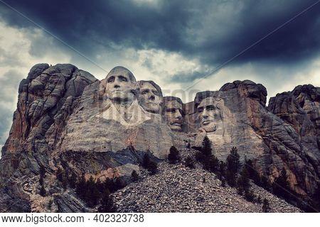 Mount Rushmore National Memorial, Black Hills region of South Dakota, USA. Famous american symbol
