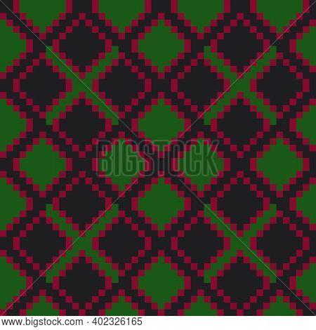 Christmas Argyle Seamless Pattern Background