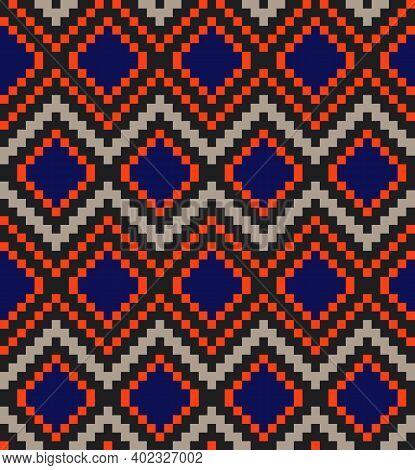 Orange Argyle Seamless Pattern Background