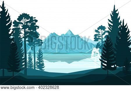 Mountain Landscape. View Of The Mountains And The Lake Through The Coniferous Forest, Taiga. Silhoue