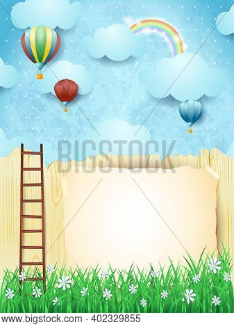 Surreal Landscape With Stairway And Hot Air Balloons. Vector Illustration Eps10