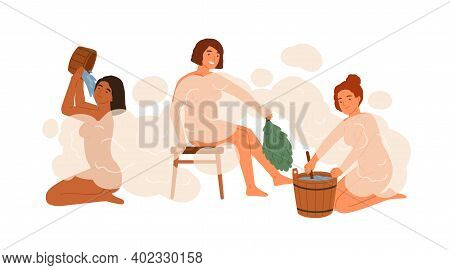 Group Of Woman In Public Bathhouse Or Banya Full Of Hot Steam Vector Flat Illustration. Happy Female