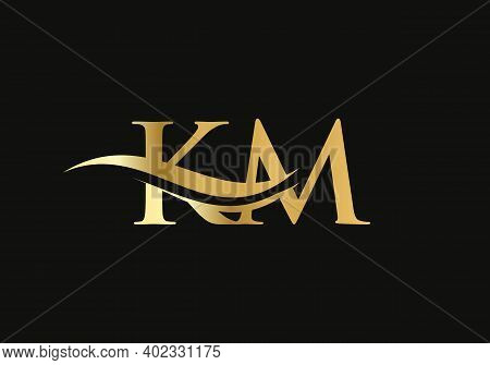 Initial Km Letter Logo With Creative Modern Business Typography Vector Template. Creative Abstract L