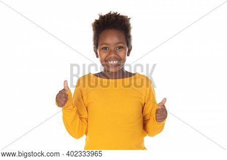Funny kid with afro hair isolated on a white background