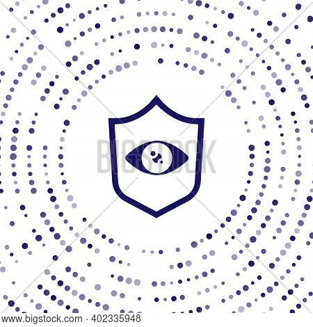 Blue Shield Eye Scan Icon Isolated On White Background. Scanning Eye. Security Check Symbol. Cyber E