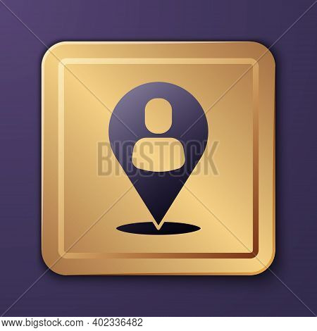 Purple Worker Location Icon Isolated On Purple Background. Gold Square Button. Vector