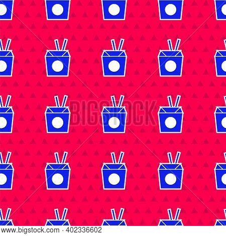 Blue Asian Noodles In Paper Box And Chopsticks Icon Isolated Seamless Pattern On Red Background. Str