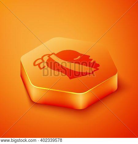 Isometric Toothache Icon Isolated On Orange Background. Orange Hexagon Button. Vector