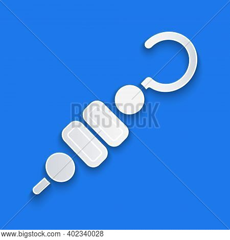 Paper Cut Grilled Shish Kebab On Skewer Stick Icon Isolated On Blue Background. Meat Kebab On Skewer
