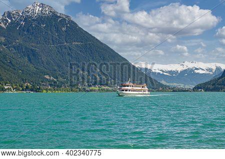 Tourist Boat At Lake Achensee In Irol,austria
