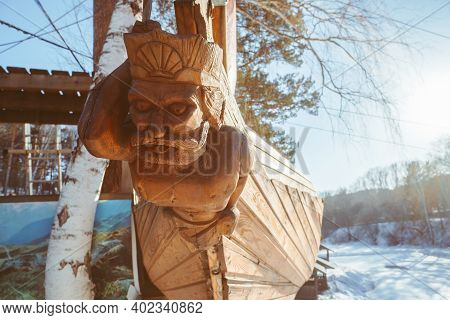 Wooden Figure On The Bow Of The Ship