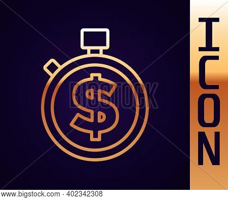 Gold Line Time Is Money Icon Isolated On Black Background. Money Is Time. Effective Time Management.