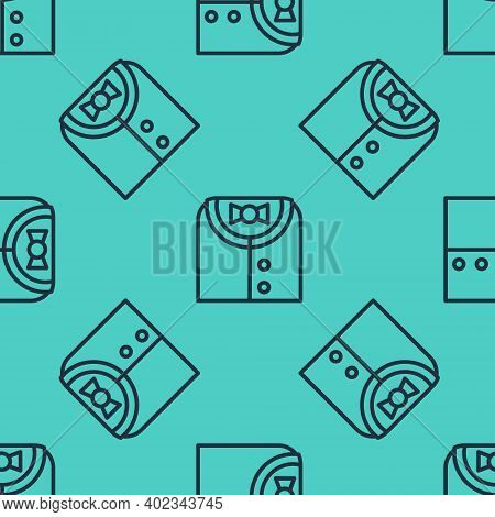 Black Line Suit Icon Isolated Seamless Pattern On Green Background. Tuxedo. Wedding Suits With Neckt