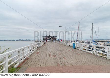 Puck, Poland - September 20, 2020: Wooden Pier On Puck Bay.